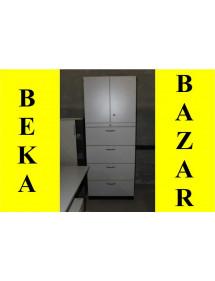 Velká kancelářská šedá skříň kombinovaná