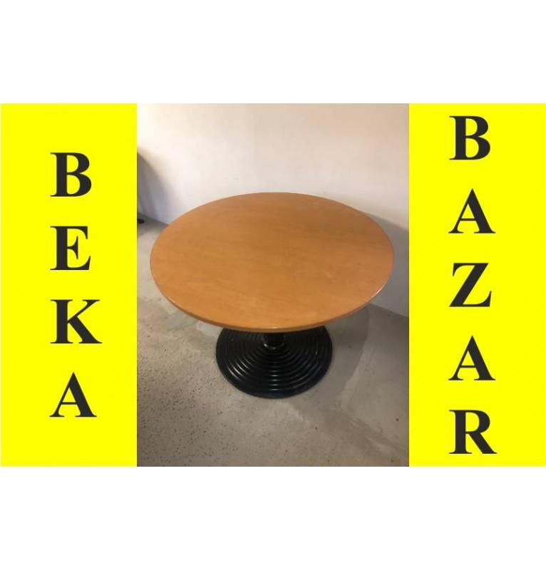 Kancelářský přísedící kulatý stolek - Tmavý buk