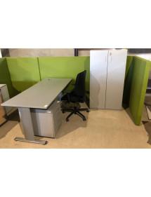 Kancelářská sestava 4 dílná v šedo-stříbrné barvě