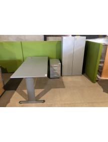Kancelárska zostava 4 dielna v šedo-striebornej farbe